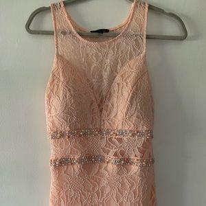 Long peach lace dress